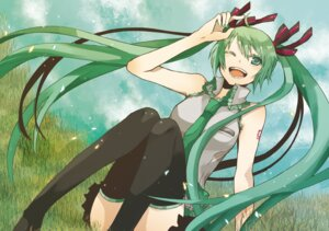 Rating: Safe Score: 10 Tags: buzz hatsune_miku thighhighs vocaloid User: Radioactive