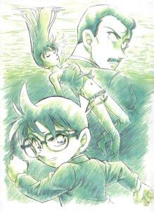 Rating: Safe Score: 5 Tags: aoyama_goushou detective_conan edogawa_conan megane monochrome mouri_kogorou mouri_ran sketch User: charunetra