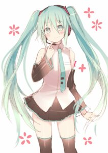 Rating: Safe Score: 52 Tags: hatsune_miku headphones hirasato thighhighs vocaloid User: fairyren