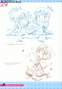 Rating: Questionable Score: 6 Tags: chibi monochrome naked_ribbon pocopii thighhighs watanabe_akio User: fireattack