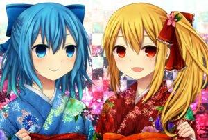 Rating: Safe Score: 17 Tags: amano_sora cirno kimono rumia touhou User: ddns001