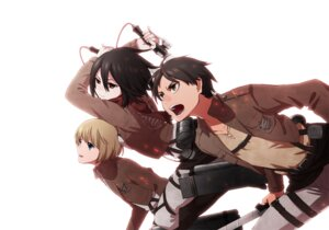 Rating: Safe Score: 12 Tags: armin_arlelt eren_jaeger helmet_(musco2) mikasa_ackerman shingeki_no_kyojin sword User: Radioactive