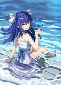 Rating: Questionable Score: 32 Tags: bra dress pantsu qihai_lunpo see_through shimapan summer_dress wet wet_clothes User: sym455