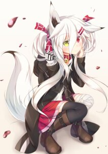 Rating: Safe Score: 44 Tags: animal_ears bandages heterochromia kitsune moai21 tail thighhighs User: Nepcoheart