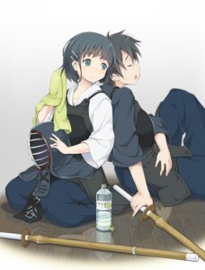 Rating: Safe Score: 22 Tags: furumiya_haiji japanese_clothes kirigaya_suguha kirito sword sword_art_online User: Radioactive