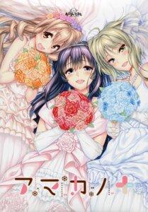 Rating: Safe Score: 40 Tags: amakano_plus azarashi_soft dress hoshikawa_koharu kanbayashi_mizuki piromizu takayashiro_sayuki wedding_dress User: Checkmate