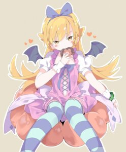 Rating: Questionable Score: 22 Tags: bakemonogatari dress oshino_shinobu skirt_lift stockings tantan_men_(dragon) thighhighs wings User: yanis