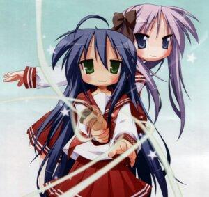 Rating: Safe Score: 6 Tags: hiiragi_kagami izumi_konata lucky_star screening seifuku yoshimizu_kagami User: dragonshining