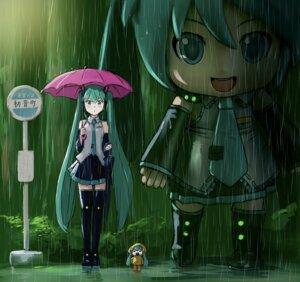 Rating: Safe Score: 22 Tags: chibi hatsune_miku mayo_riyo parody thighhighs tonari_no_totoro umbrella vocaloid wet User: Mr_GT