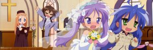 Rating: Safe Score: 41 Tags: dress hiiragi_kagami izumi_konata kusakabe_misao lucky_star minegishi_ayano takemoto_yasuhiro wedding_dress User: 月无名