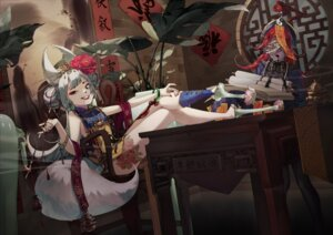 Rating: Questionable Score: 25 Tags: animal_ears asian_clothes ba_shuo_chun_huei(luc) bandages blood chinadress heels no_bra smoking tail tattoo thighhighs User: sym455