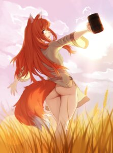 Rating: Questionable Score: 35 Tags: animal_ears ass feguimel holo nopan skirt_lift spice_and_wolf tail wardrobe_malfunction User: Spidey
