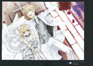 Rating: Safe Score: 14 Tags: bondage dress fate/stay_night fate/zero gilgamesh_(fsn) saber scanning_artifacts tagme type-moon wedding_dress User: Radioactive
