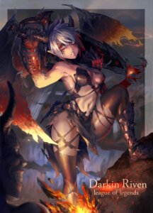 Rating: Questionable Score: 42 Tags: bikini_armor cleavage horns league_of_legends pointy_ears riven_(league_of_legends) sword tattoo thighhighs weapon wings xiao_ji_(kair030) User: Mr_GT