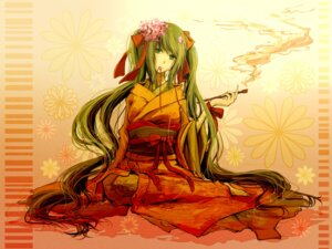 Rating: Safe Score: 11 Tags: hatsune_miku juuyonkou kimono vocaloid wallpaper User: hobbito