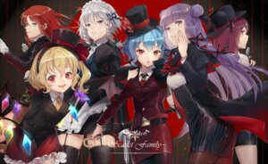 Rating: Safe Score: 34 Tags: bandages business_suit ekita_gen flandre_scarlet gun hong_meiling izayoi_sakuya koakuma maid pantyhose patchouli_knowledge remilia_scarlet stockings thighhighs touhou umbrella wings User: Mr_GT