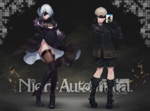 Rating: Safe Score: 17 Tags: cleavage dress heels nier_automata pantsu ptdoge skirt_lift thighhighs yorha_no.2_type_b yorha_no._9_type_s User: mash