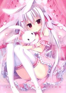 Rating: Questionable Score: 36 Tags: animal_ears bunny_ears cleavage dress hasune hasuneya skirt_lift tail thighhighs User: kiyoe