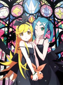 Rating: Safe Score: 42 Tags: dress monogatari_(series) ononoki_yotsugi oshino_shinobu raw_scan watanabe_akio User: SRL