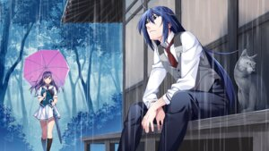 Rating: Safe Score: 16 Tags: front_wing game_cg grisaia_phantom_trigger neko seifuku umbrella watanabe_akio User: kiyoe