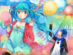 Rating: Safe Score: 15 Tags: hatsune_miku kaito thighhighs vocaloid yuki. User: dyj