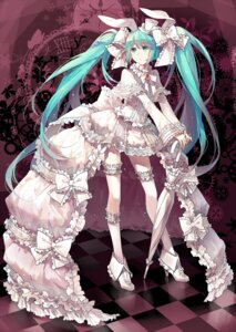 Rating: Safe Score: 74 Tags: animal_ears bunny_ears dress garter hatsune_miku lolita_fashion rella thighhighs vocaloid User: Mr_GT