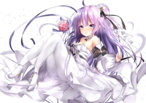 Rating: Questionable Score: 19 Tags: azur_lane dress heels mutou_(94753939) no_bra pantyhose skirt_lift unicorn_(azur_lane) wedding_dress User: Arsy