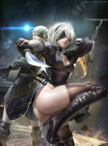 Rating: Questionable Score: 75 Tags: ass cleavage dress heels nier_automata sangrde sword thighhighs watermark yorha_no.2_type_b yorha_no._9_type_s User: mash