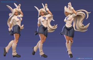 Rating: Safe Score: 7 Tags: animal_ears boku_no_hero_academia bunny_ears cg mirko seifuku skirt_lift User: shirojc