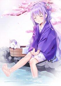 Rating: Safe Score: 41 Tags: azur_lane onsen unicorn_(azur_lane) wet xixi yukata User: sym455