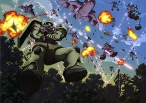 Rating: Safe Score: 9 Tags: gun gundam mecha mobile_suit_gundam ms-06_zaku_ii User: Radioactive