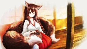 Rating: Safe Score: 9 Tags: animal_ears kitsune miko tagme tail wallpaper User: dick_dickinson