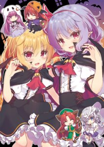 Rating: Safe Score: 20 Tags: animal_ears bandages beni_kurage chibi flandre_scarlet halloween hong_meiling izayoi_sakuya koakuma patchouli_knowledge pointy_ears remilia_scarlet tail touhou wings User: Mr_GT