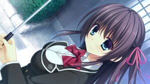 Rating: Safe Score: 51 Tags: game_cg hibiki_works minami_mai nanaroba_hana purely_x_cation seifuku umbrella User: moonian