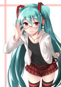 Rating: Safe Score: 42 Tags: hatsune_miku headphones megane thighhighs vocaloid xefy User: animeprincess
