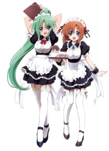 Rating: Safe Score: 47 Tags: higurashi_no_naku_koro_ni maid ryuuguu_rena sakai_kyuuta sonozaki_mion stockings thighhighs User: Radioactive