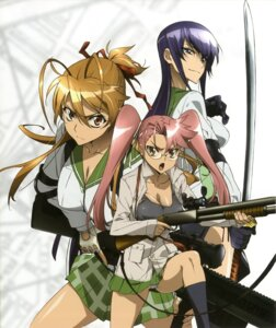 Rating: Questionable Score: 40 Tags: busujima_saeko gun highschool_of_the_dead inazuma megane miyamoto_rei pantsu seifuku sword takagi_saya thighhighs User: YamatoBomber