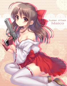 Rating: Safe Score: 60 Tags: cleavage gun miko momoko_(momopoco) sudden_attack thighhighs User: fairyren