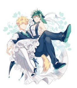 Rating: Safe Score: 7 Tags: animal_ears az_(artist) bakugou_katsuki boku_no_hero_academia bunny_ears business_suit cleavage dress genderswap heels midoriya_izuku tail User: charunetra
