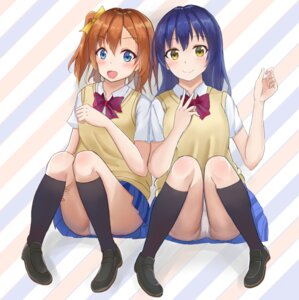 Rating: Questionable Score: 27 Tags: jimyiu2011 kousaka_honoka love_live! pantsu seifuku sonoda_umi sweater User: saemonnokami