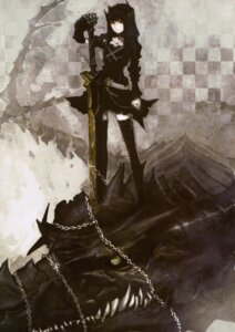 Rating: Safe Score: 51 Tags: black_rock_shooter dragon_slayer huke monochrome monster sword vocaloid User: ForteenF