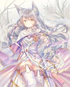 Rating: Safe Score: 68 Tags: animal_ears iori_yosuga stockings sword thighhighs User: fairyren