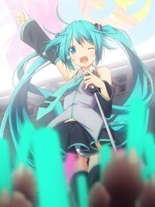 Rating: Safe Score: 24 Tags: hatsune_miku pantsu shimapan thighhighs vocaloid yukizuki_kei_(yossa) User: fairyren