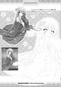 Rating: Questionable Score: 8 Tags: cleavage kimono monochrome open_shirt roritora tsukishima_yuuko User: petopeto