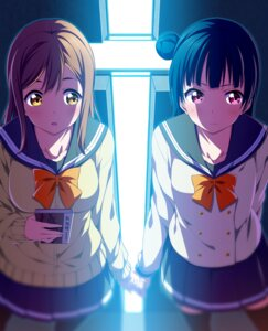 Rating: Safe Score: 48 Tags: kunikida_hanamaru love_live!_sunshine!! seifuku sweater thighhighs tsushima_yoshiko User: hamasen205