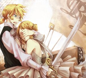 Rating: Safe Score: 10 Tags: dress kagamine_len kagamine_rin shouyu_meshi sword vocaloid User: Radioactive
