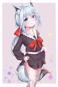 Rating: Questionable Score: 25 Tags: amaroku_neko animal_ears hololive seifuku shirakami_fubuki skirt_lift tail thighhighs User: Dreista