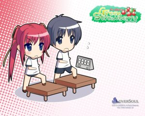 Rating: Safe Score: 4 Tags: chibi green_strawberry gym_uniform kokono loversoul wallpaper User: blooregardo