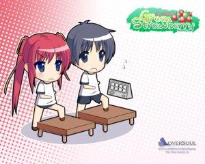 Rating: Safe Score: 5 Tags: chibi green_strawberry gym_uniform kokono loversoul wallpaper User: blooregardo