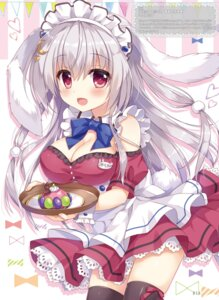 Rating: Safe Score: 26 Tags: ame_to_yuki animal_ears blanc_(ame_to_yuki) bunny_ears cleavage maid tail thighhighs waitress User: Twinsenzw